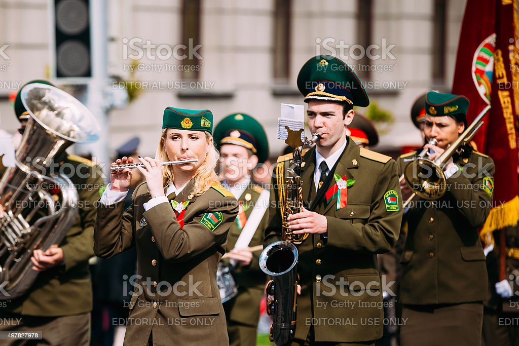 Orchestra of the Border Troops participating in the parade dedic stock photo