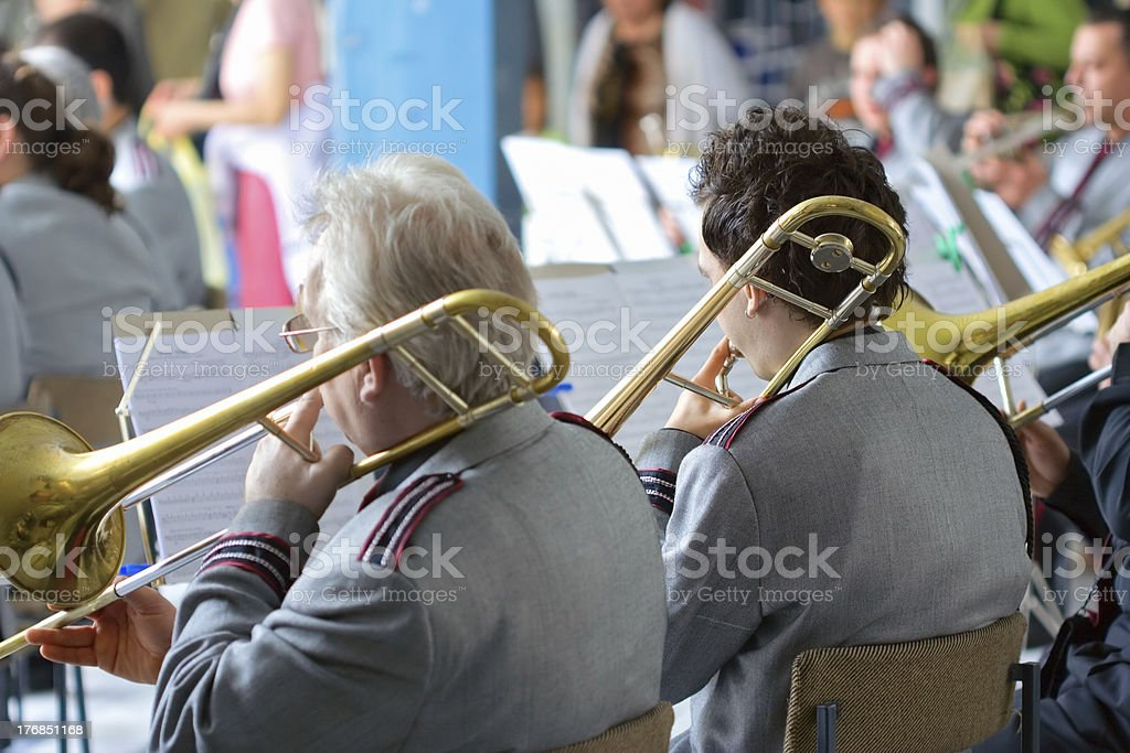 Orchestra performing at a concert stock photo