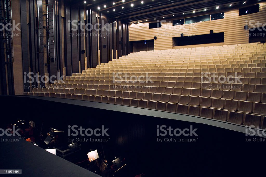 Orchestra pit and theatre seats stock photo