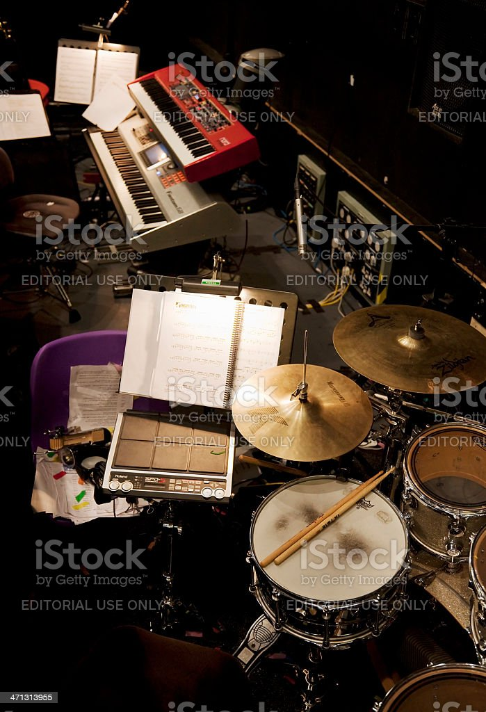 Orchestra pit, drums and keyboards stock photo