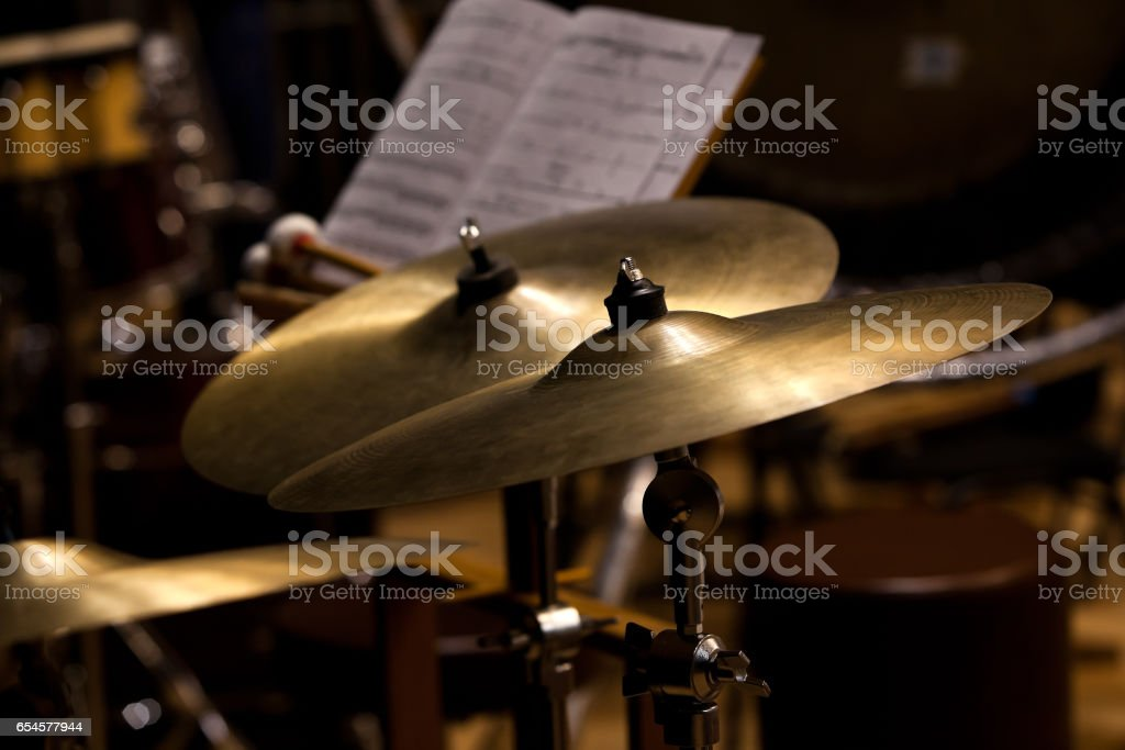 Orchestral cymbals stock photo