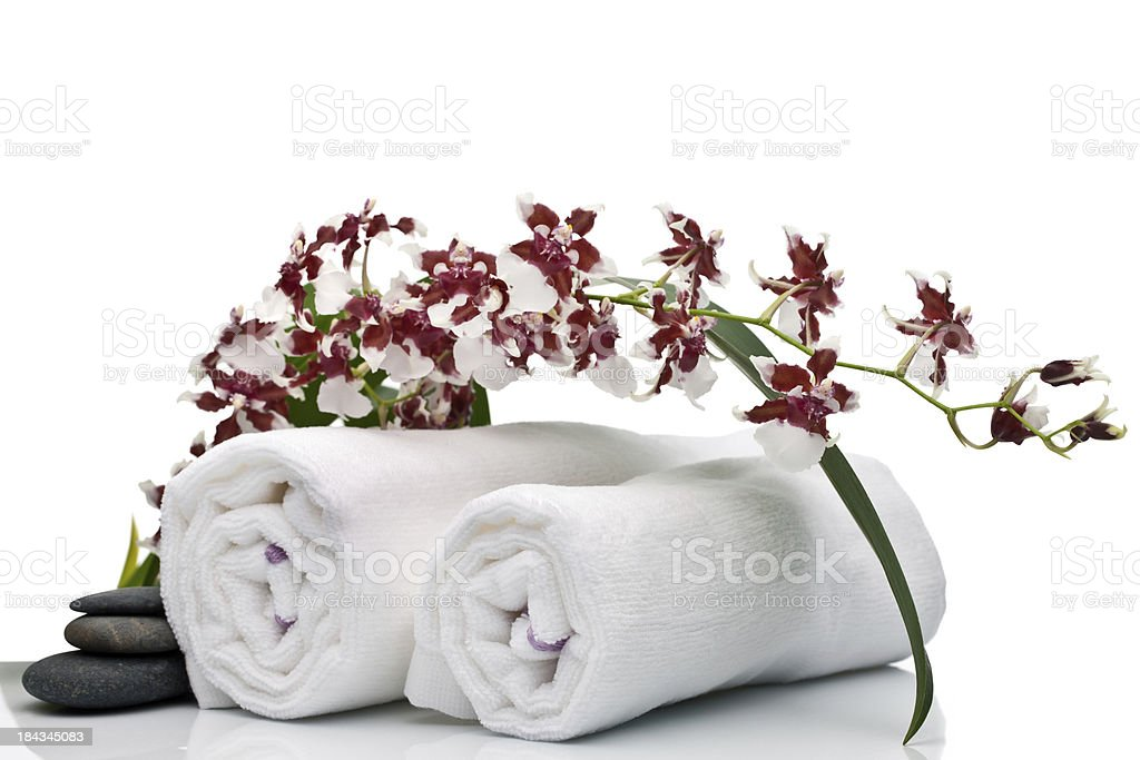 Orchid and towels stock photo