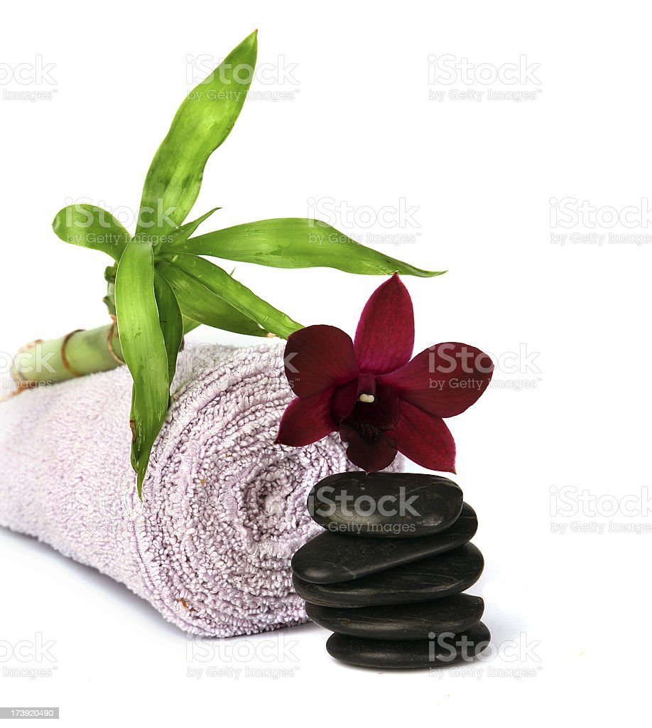 Orchid, bamboo and towel royalty-free stock photo