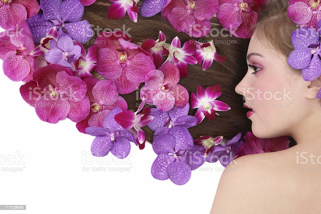Orchid hairstyle royalty-free stock photo