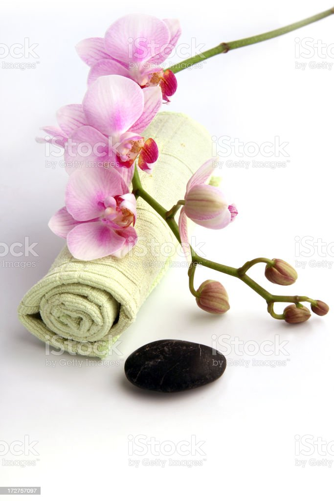 Orchid on Towel royalty-free stock photo