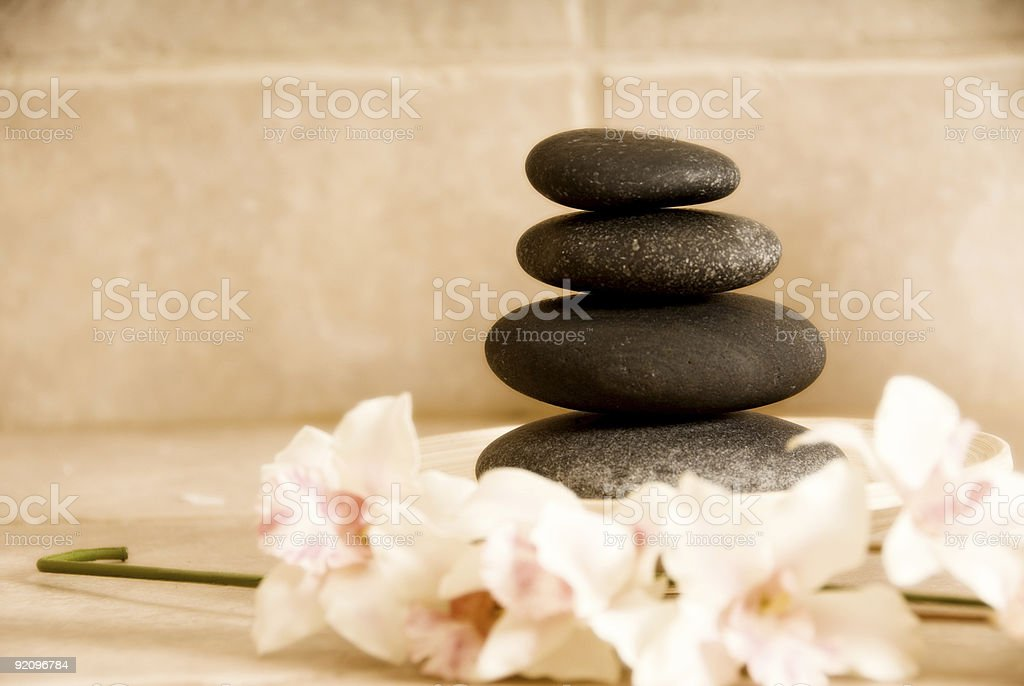 orchids and stones royalty-free stock photo