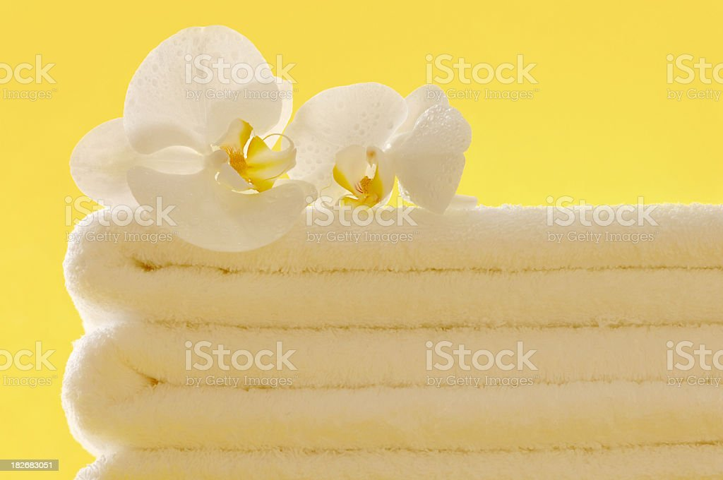 Orchids on Towels royalty-free stock photo