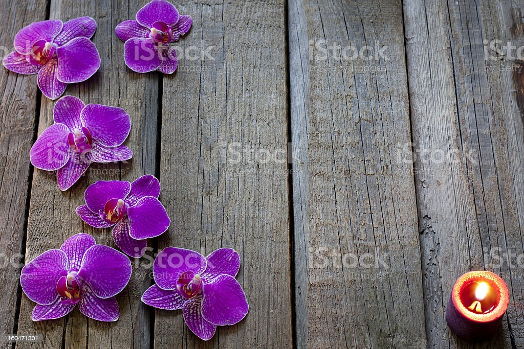 Orchids on wooden boards spa cosmetic vintage background royalty-free stock photo