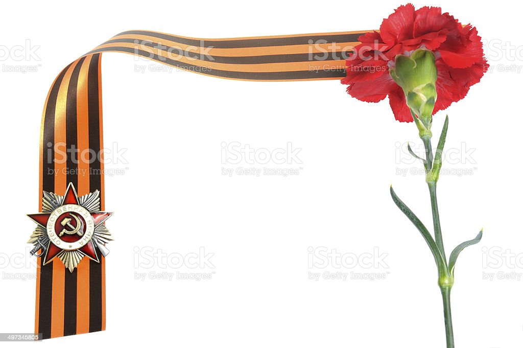 Order of Great Patriotic war, red clove, Saint George ribbon stock photo