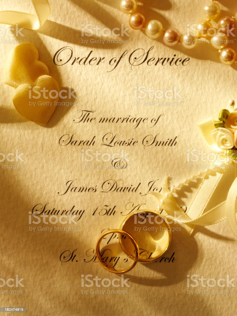 Order of Service for a Wedding Day royalty-free stock photo