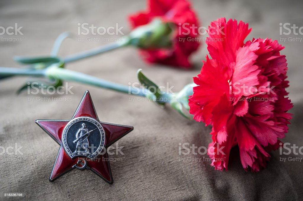 Order of the Red Star and two red carnations. stock photo