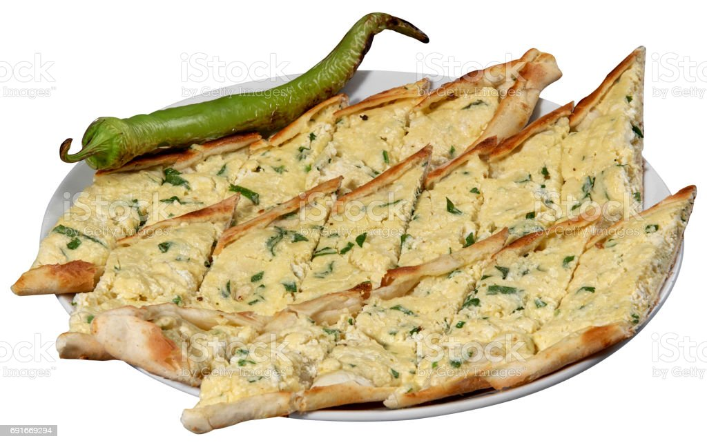 Pide, Turkish pide with cheese / Peynirli pide. stock photo