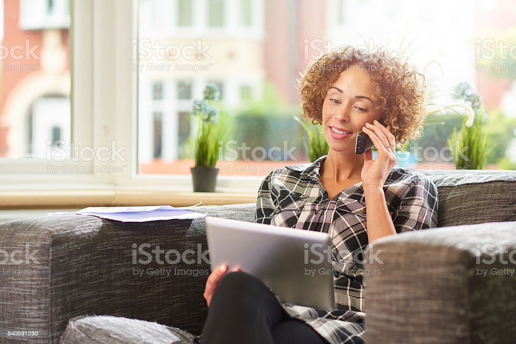 ordering by phone stock photo