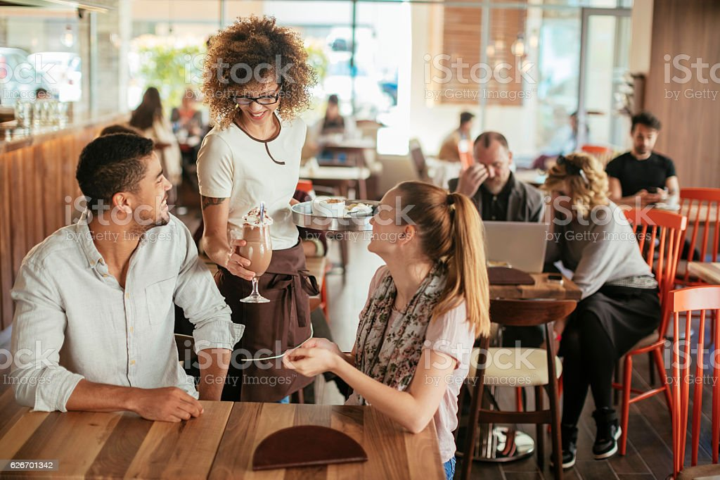 Ordering drinks stock photo