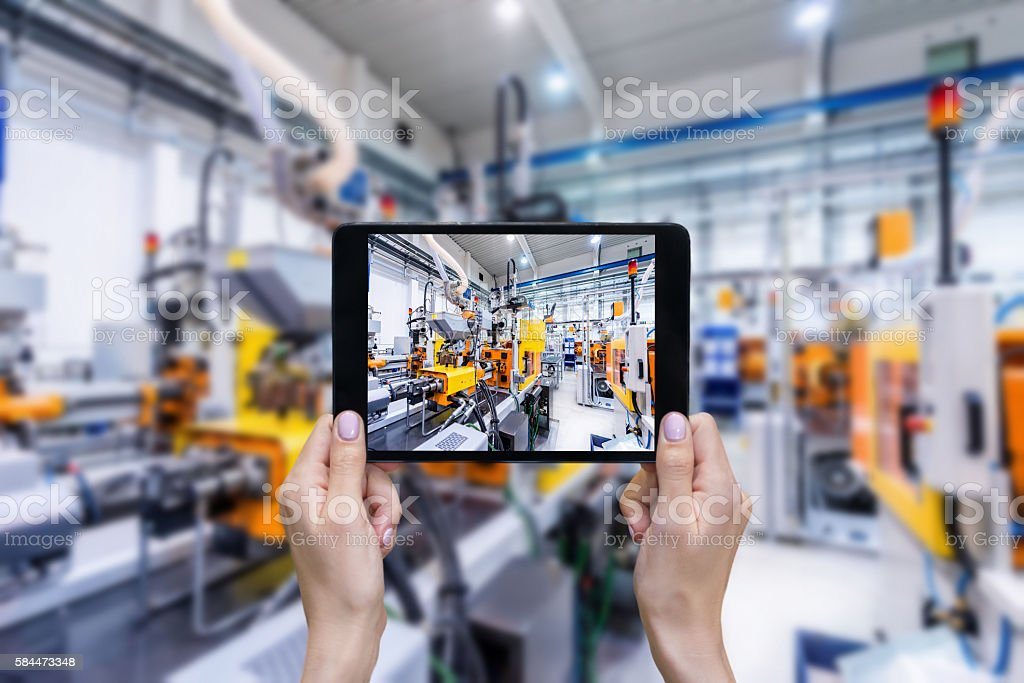 Ordering on-line from plastic factory stock photo