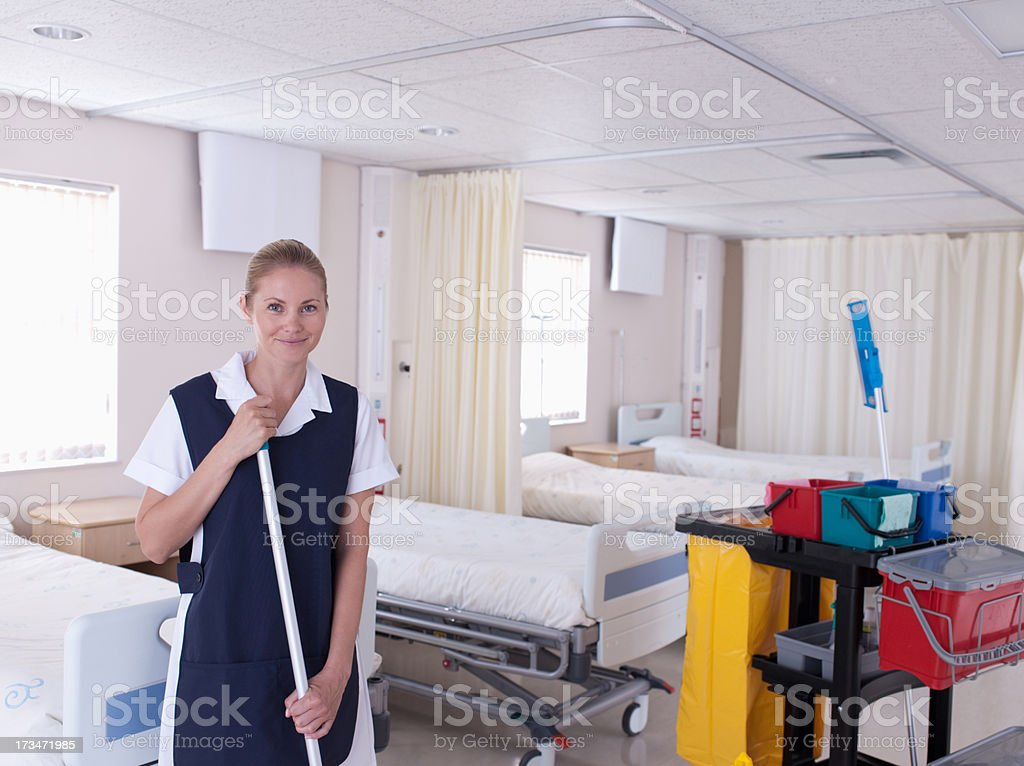 Orderly cleaning hospital stock photo