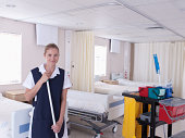 Orderly cleaning hospital