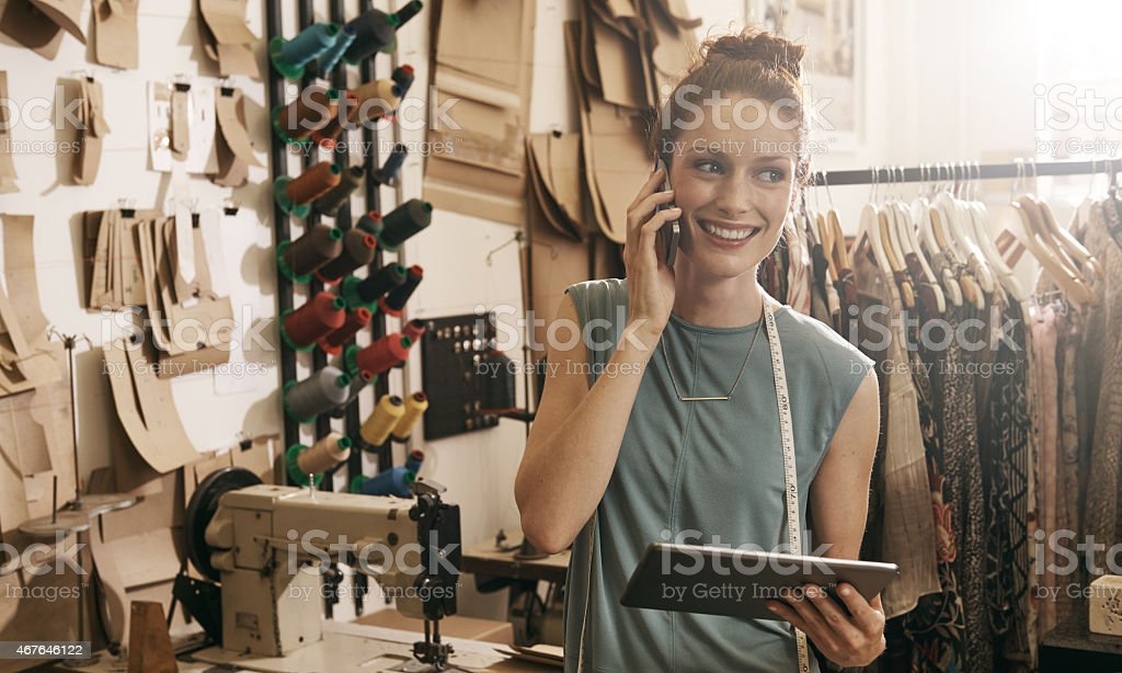 Orders come in and she gets them right out! stock photo
