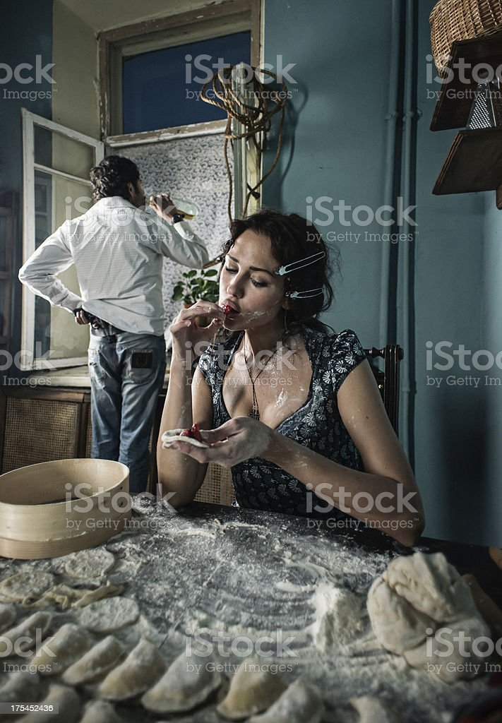 ordinary Italian evening stock photo
