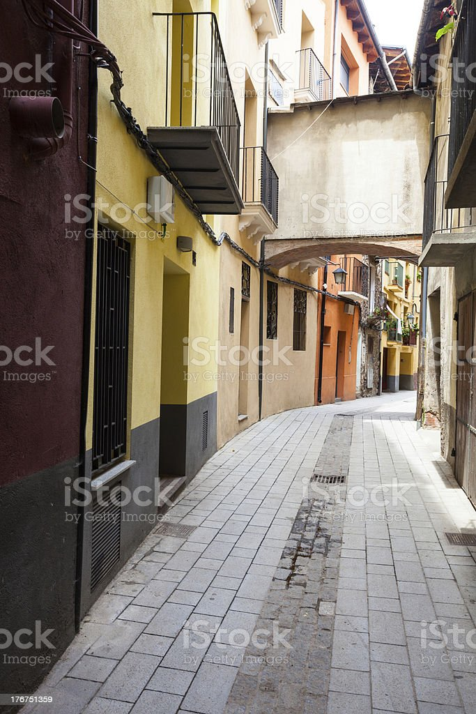 Ordinary street of catalan town stock photo