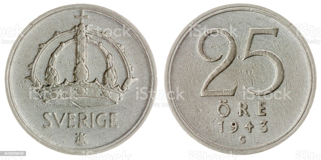 25 ore 1943 coin isolated on white background, Sweden stock photo