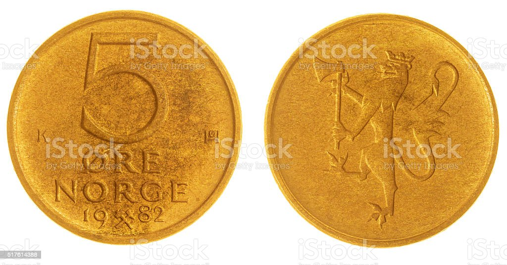 5 ore 1982 coin isolated on white background, Norway stock photo