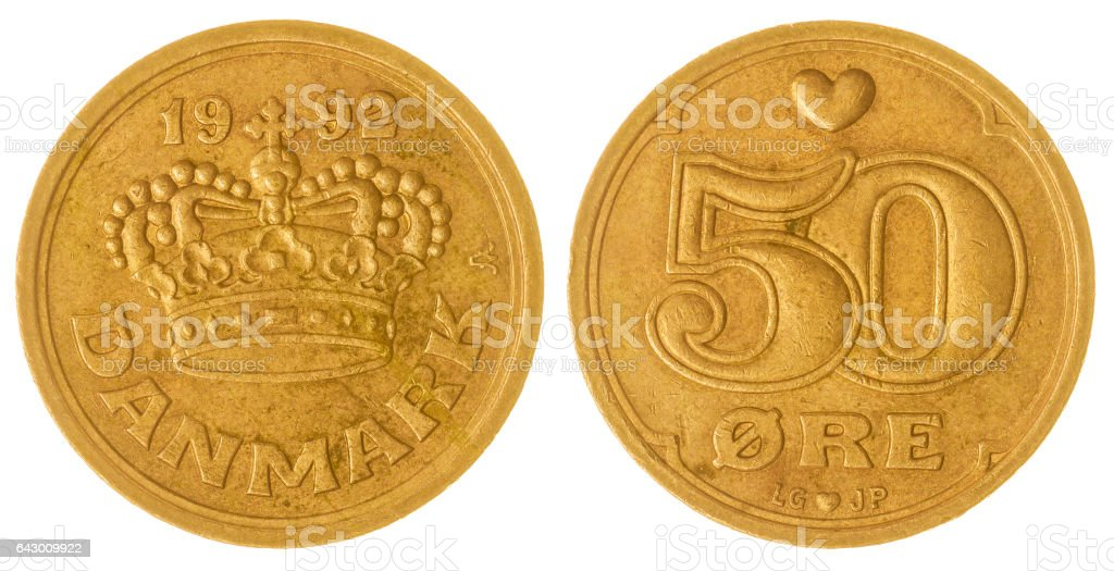 50 ore 1992 coin isolated on white background, Denmark stock photo