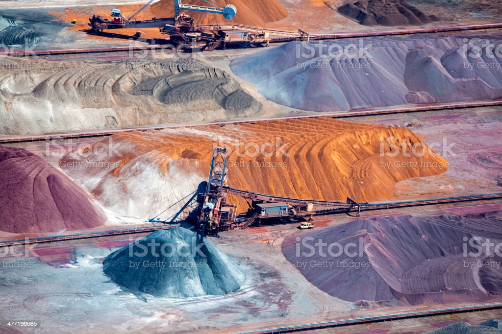 Ore and conveyor belt aerial stock photo