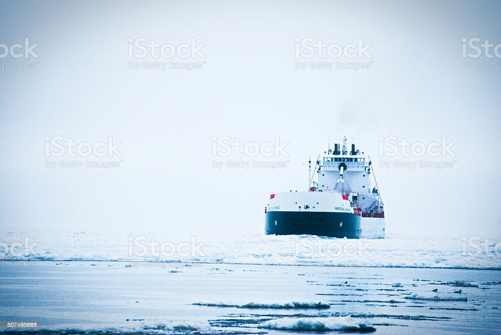 Ore Boat in Ice royalty-free stock photo