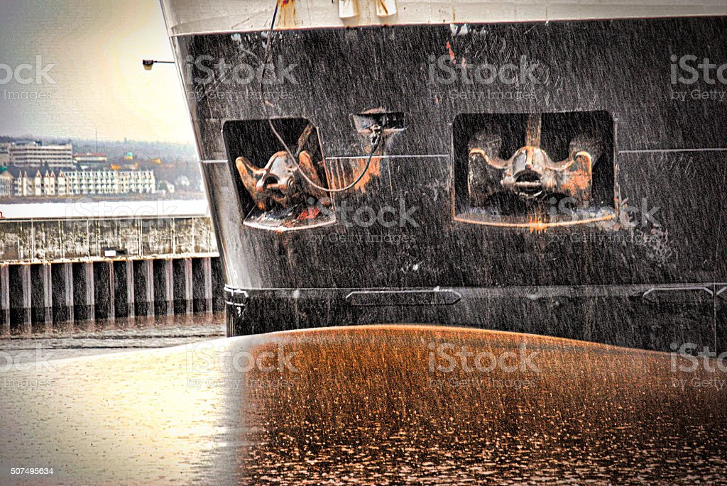 Ore Boat in the Rain royalty-free stock photo