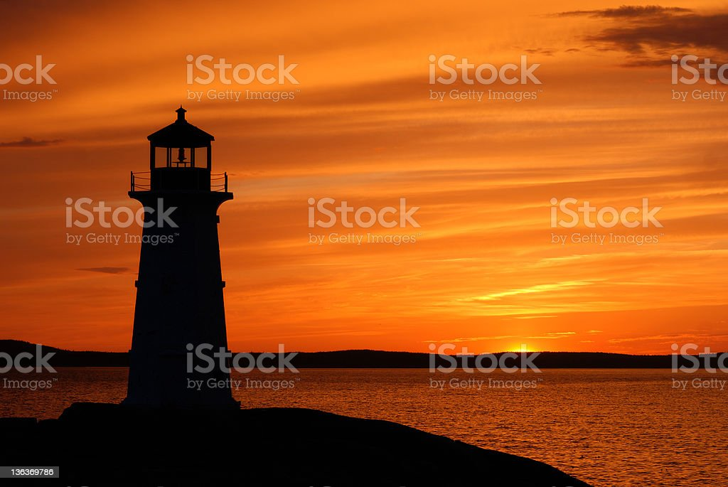 A ore inspiring sunset at Peggy's Cove stock photo
