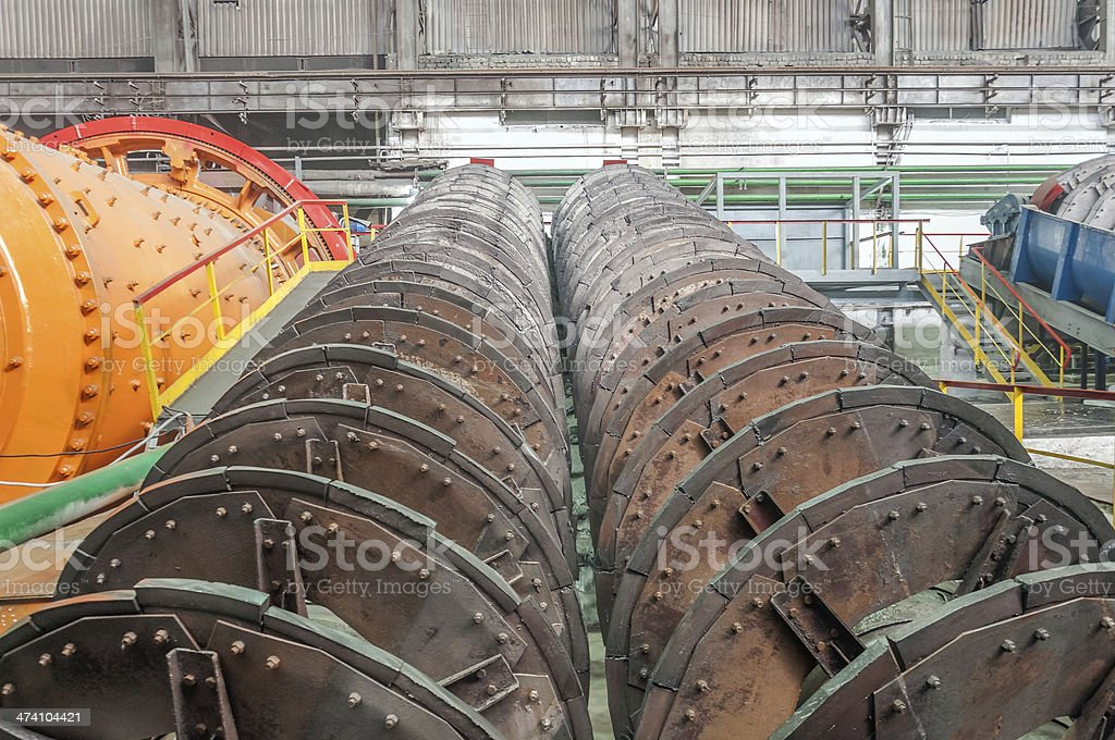 Ore-dressing and processing in a factory royalty-free stock photo