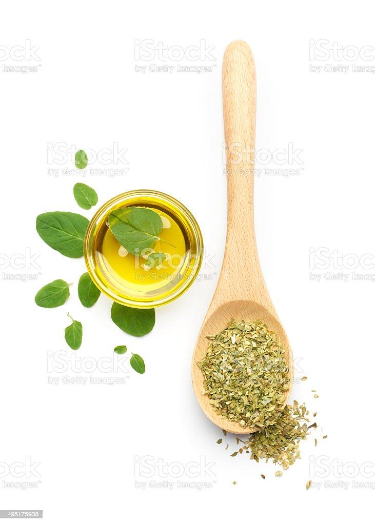 Oregano Leaves, Dried Oregano and Olive Oil stock photo