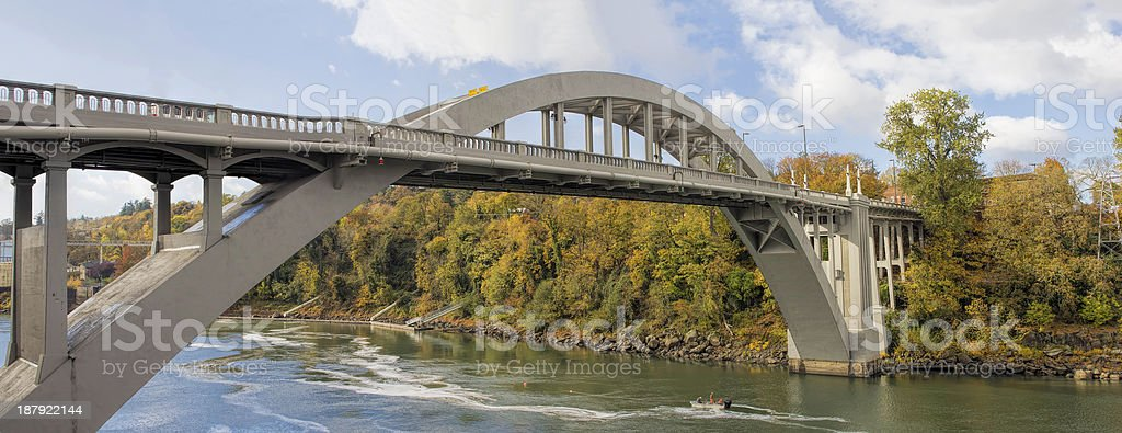 Oregon City Arch Bridge Over Willamette River in Fall stock photo