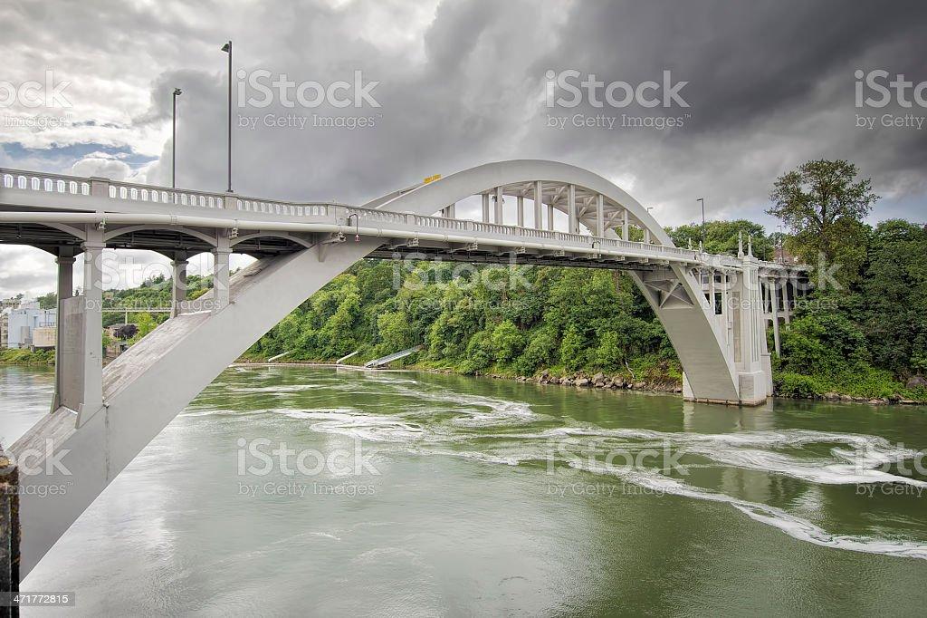 Oregon City Bridge Over Willamette River stock photo