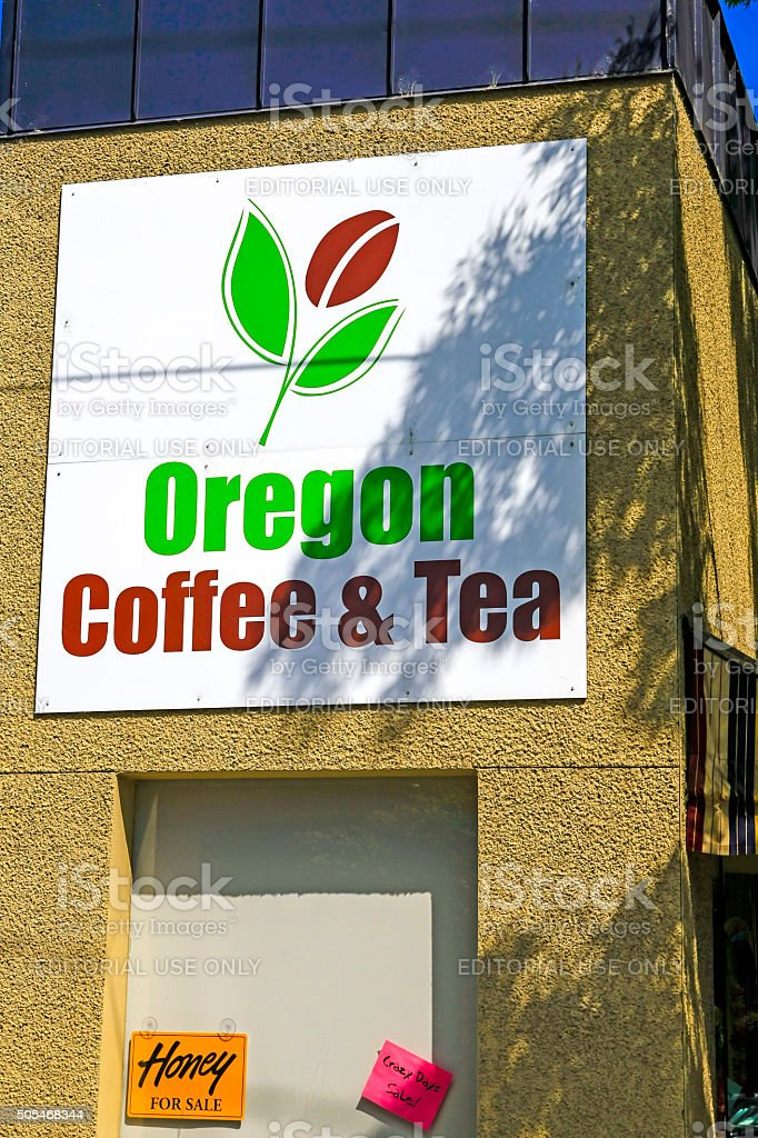 Oregon Coffee and Tea store sign in Corvalis OR stock photo