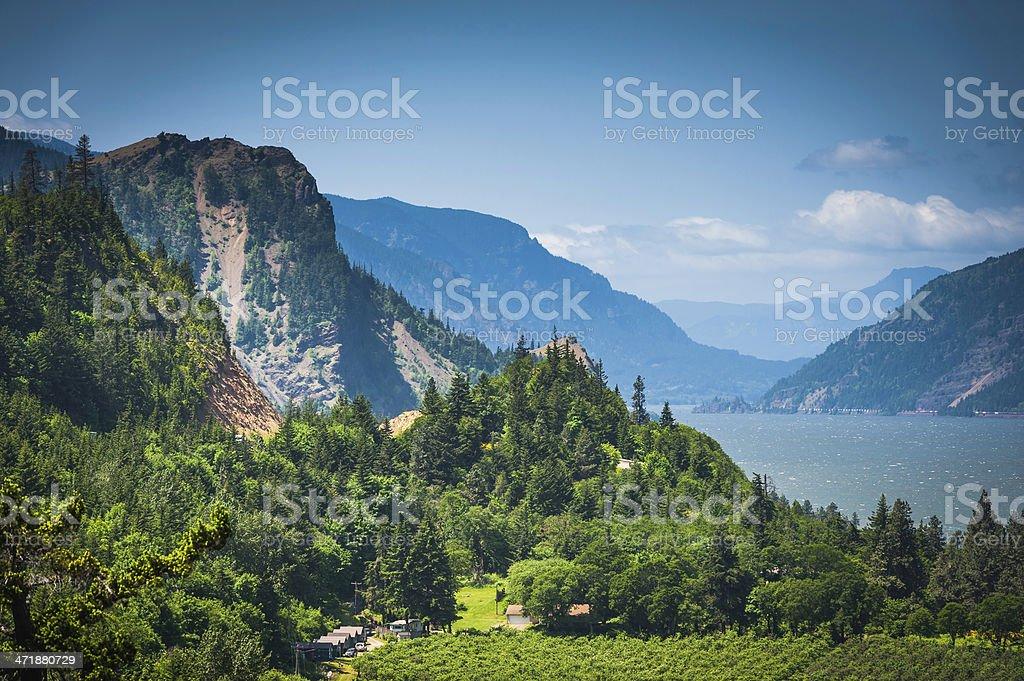 Oregon Columbia River Gorge dramatic mountain forest landscape Washington USA stock photo