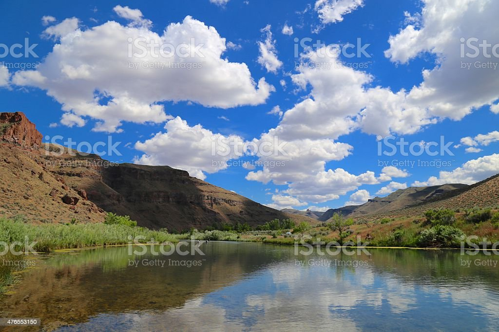 Oregon fly fishing river stock photo