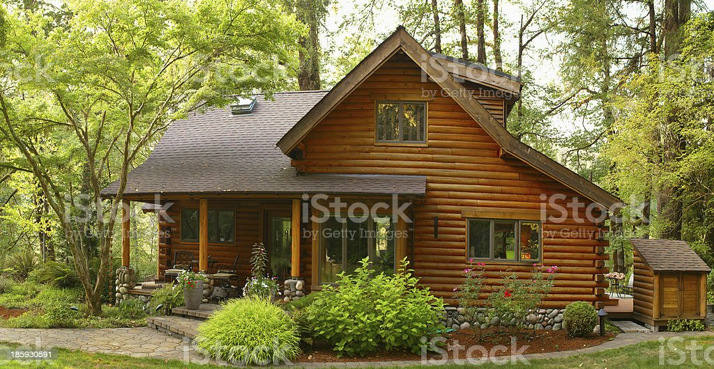 Oregon Forest Modern Log Cabin stock photo