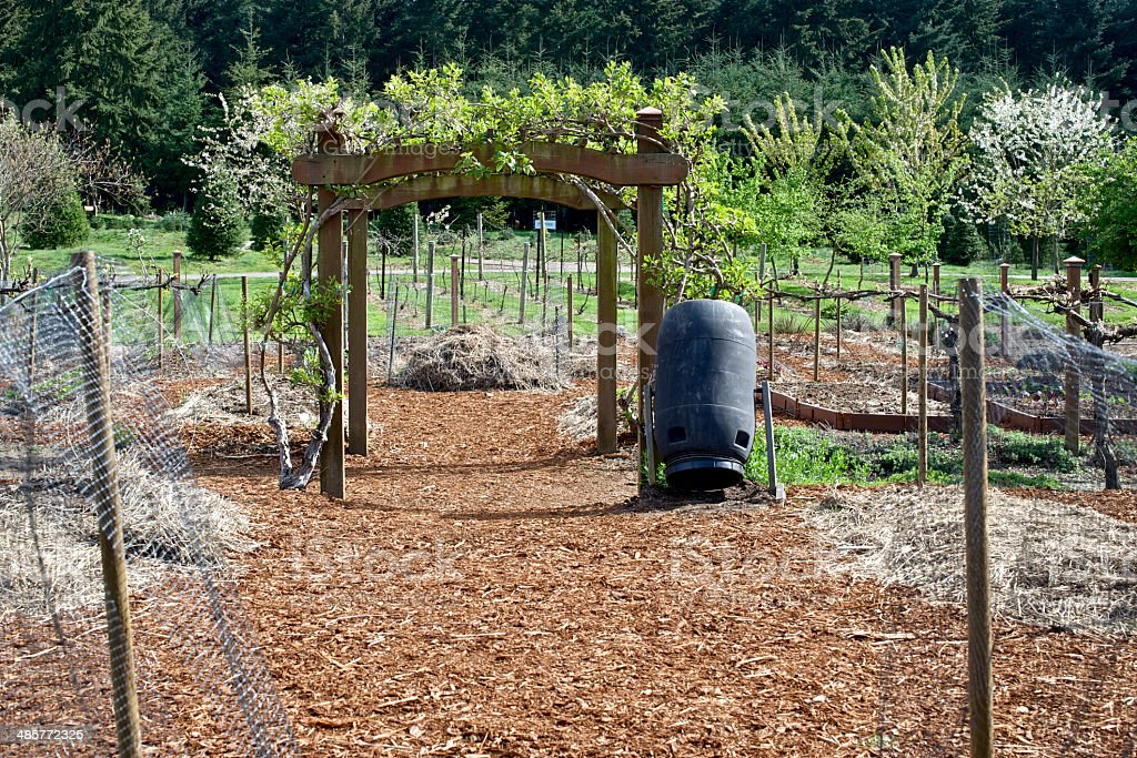 Oregon Garden Spring Bushes Barkdust Mulch Arbor Recycle Bin royalty-free stock photo