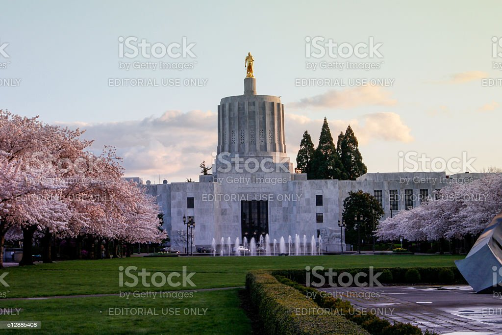 Oregon State Capitol at spring blooming season stock photo