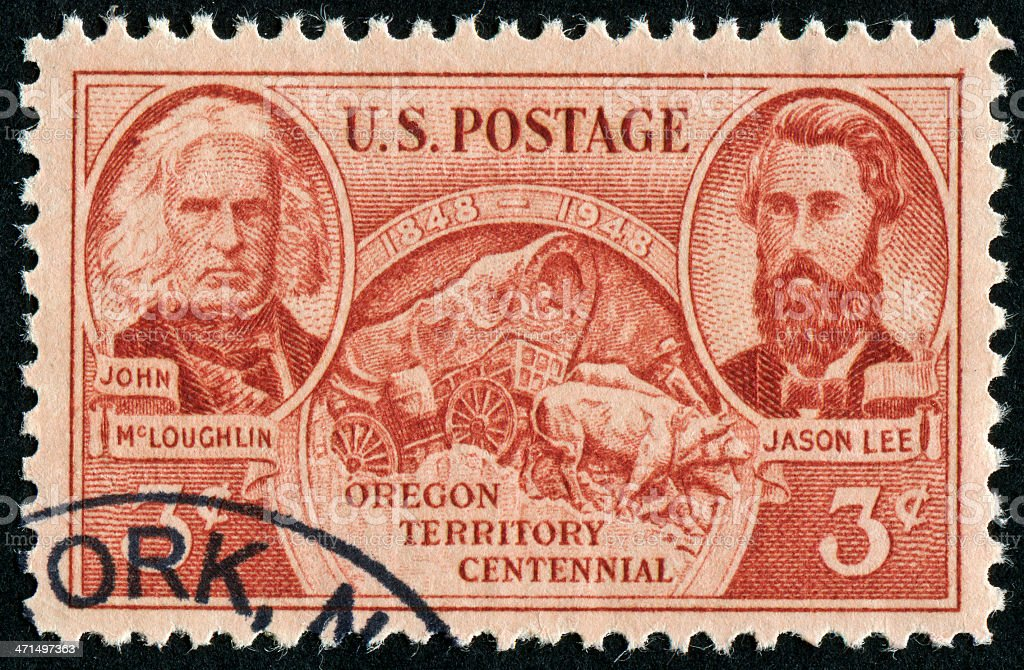 Oregon Territory Centennial Stamp royalty-free stock photo
