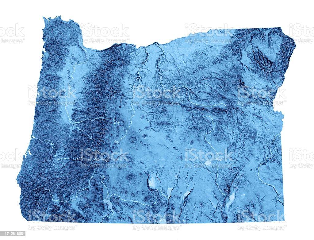 Oregon Topographic Map Isolated stock photo