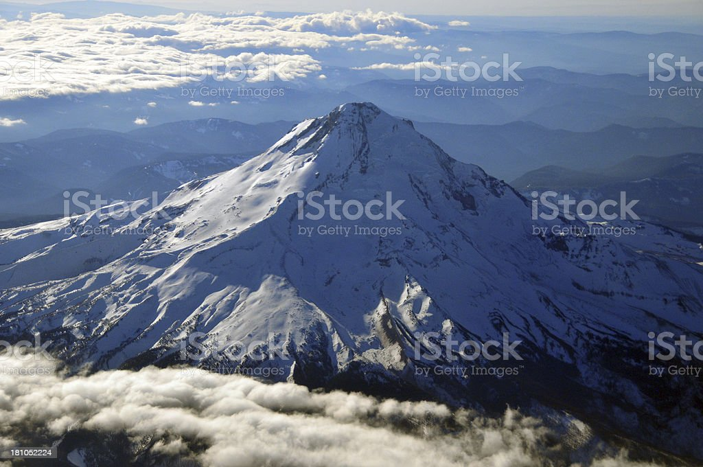 Oregon, USA: Mount Hood from the air royalty-free stock photo