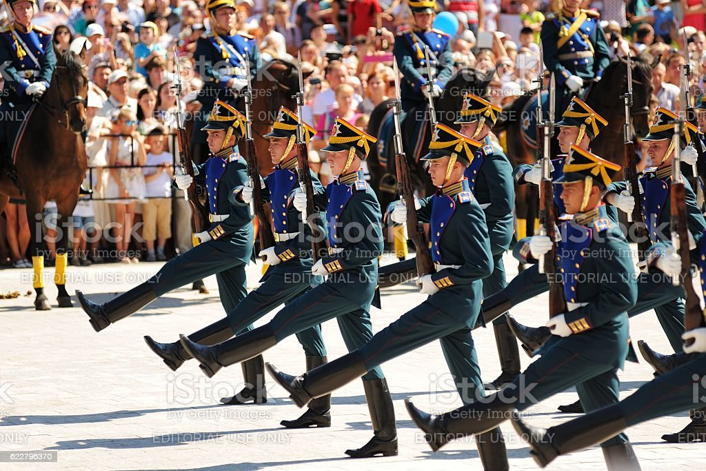 Orel city day. Marching and horse guards stock photo