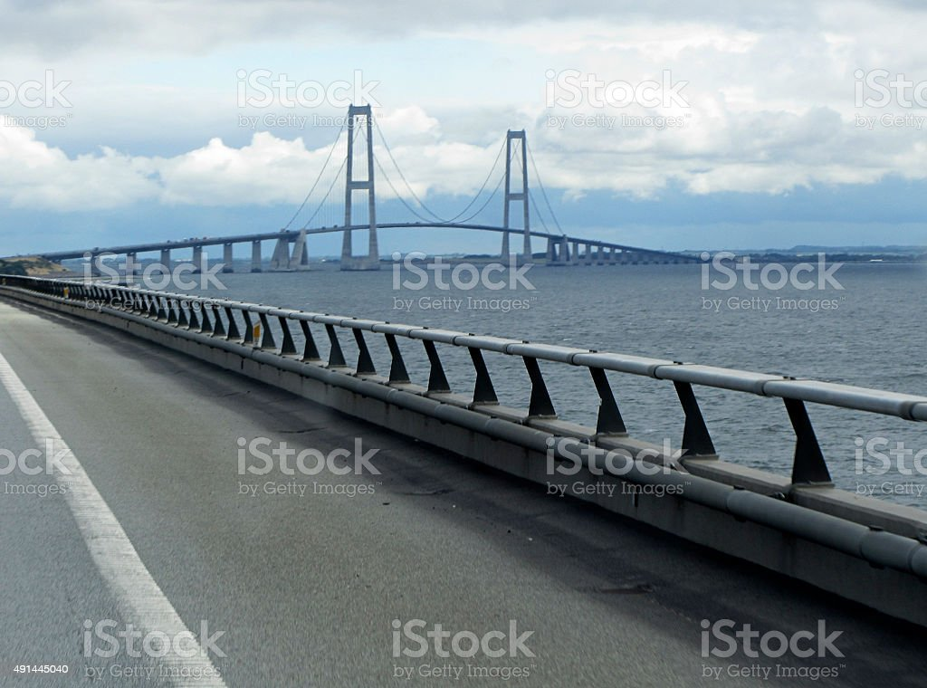 Oresund Bridge, a cable-stayed bridge across the Sound stock photo