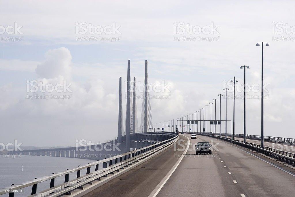 Oresund Bridge between Sweden and Denmark royalty-free stock photo