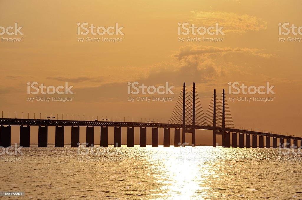 Oresund Bridge Sunset stock photo