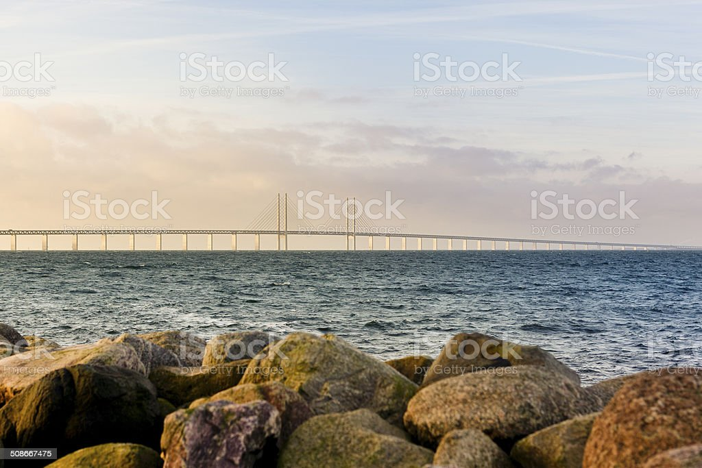 oresund bridge sunset stock photo
