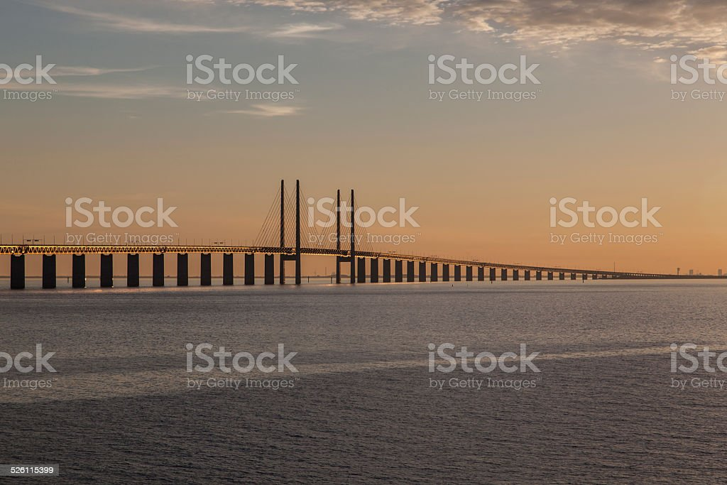 Oresund Bridge,oresunds bron, bridge on the sea stock photo